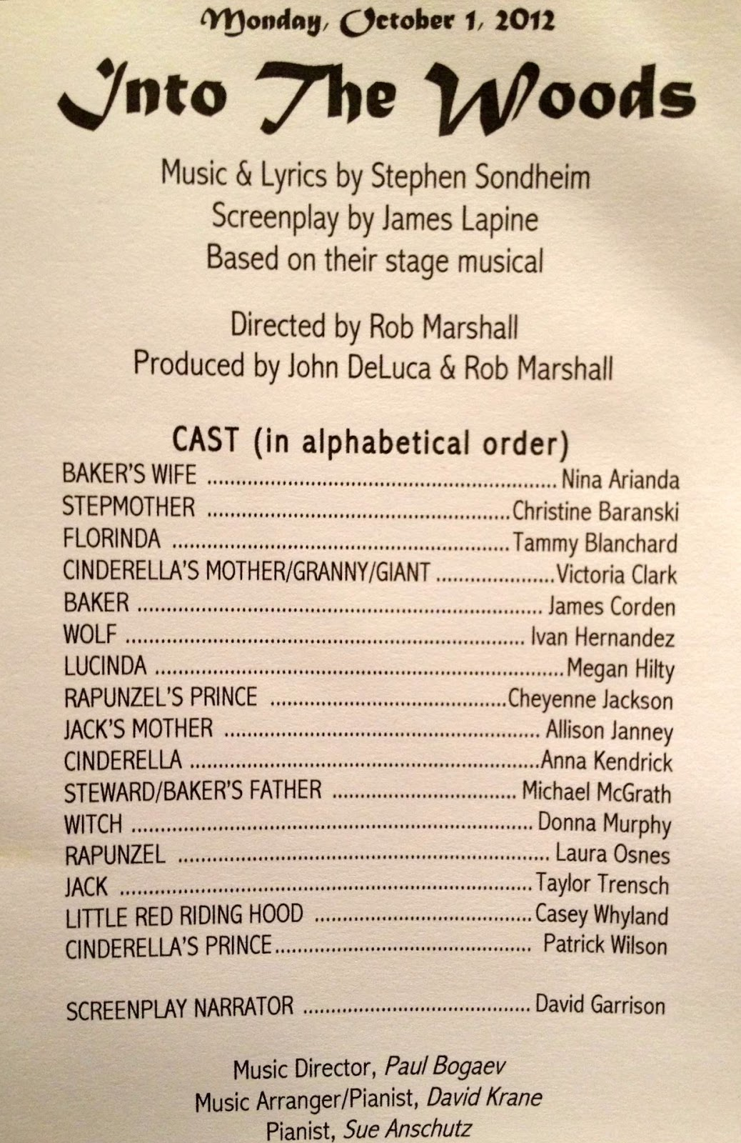 Once upon a blog into the woods movie revised cast list so screenplay read from late 2012 fandeluxe Gallery