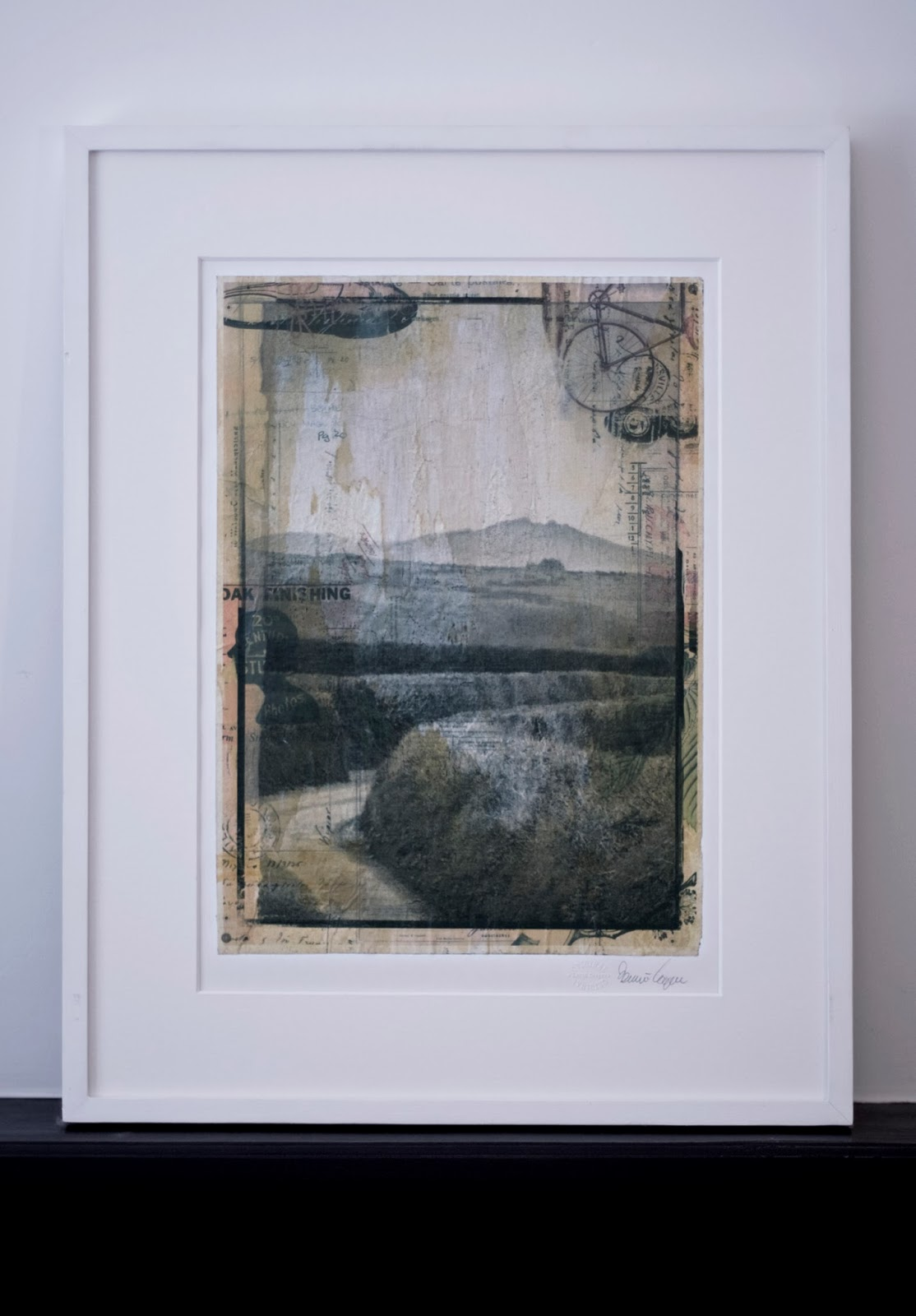Landscape, Photo, Collage, Framed Original, Layers, Paper, Cornwall