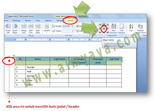 Gambar: Contoh cara membuat agar isi cell judul kolom berada ditengah - tengah baik secara horizontal maupun vertikal di dokumen Microsoft Word
