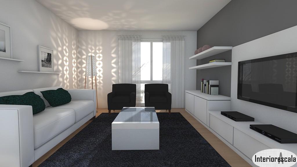 Interioresaescala sal n en blanco y negro - Salones con sofa negro ...