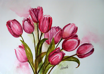 flowers,blossom,blooms,pink,tulips,background,spring,summer,painted,watercolour,bouquet,theme