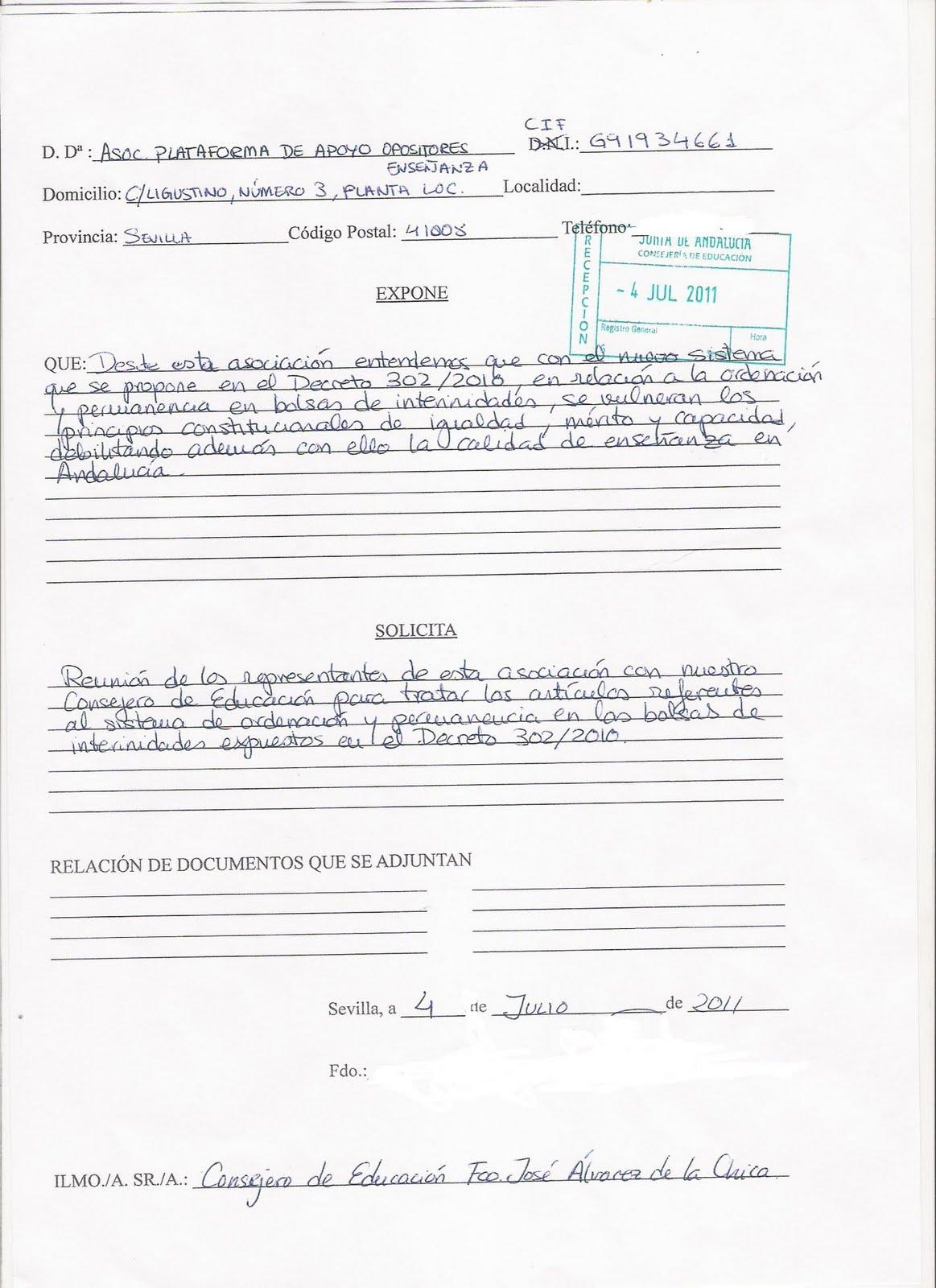 Por un sistema justo. No Al Decreto 302: Plantilla solicitud para ...