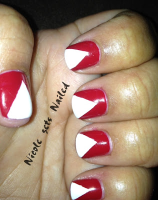 red white chevron nail art Canada Day