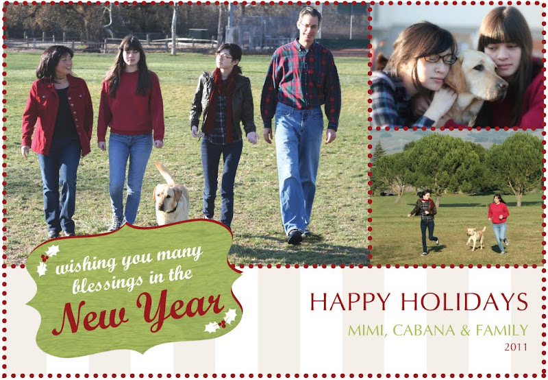 front of our christmas card, featuring photos of our family walking together, my girls hugging cabana and running with cabana
