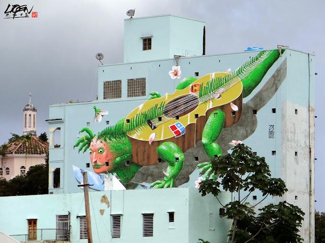 """Iguana Cuatro"" New Street Art Mural By Liqen For Los Muros Hablan 2013 in San Juan, Puerto Rico. 1"