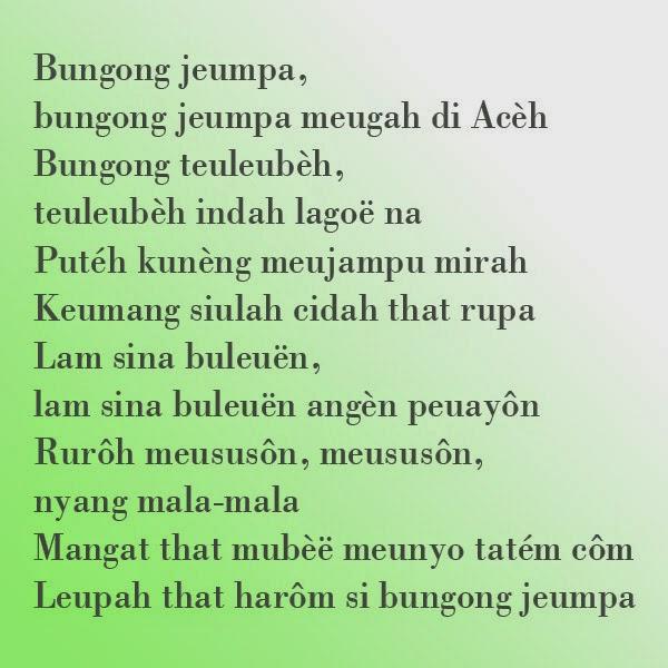 Bungong Jeumpa-Makna Lirik lagu   Rumah Adat Indonesia