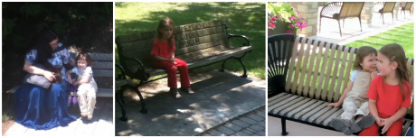 Sitting on benches at Queen Elizabeth Gardens.