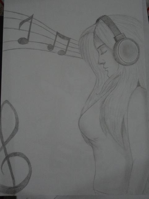 Menina ouvindo música (desenho)