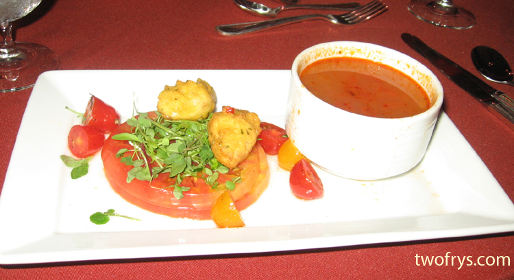Crab fritters, Jersey tomatoes, crab vegetable soup
