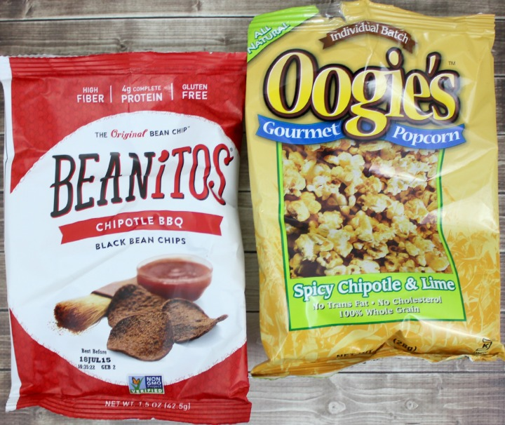 Beanitos Chipotle BBQ Black Bean Chips (1.5oz bag) Oogies Gourmet Popcorn - Spicy Chipotle & Lime (1oz bag)