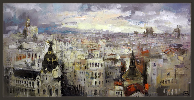 MADRID-PINTURA-PANORAMICAS-CUADROS-ESPAÑA-PAISAJES-METROPOLIS-EDIFICIO ESPAÑA-PINTOR-ERNEST DESCALS--