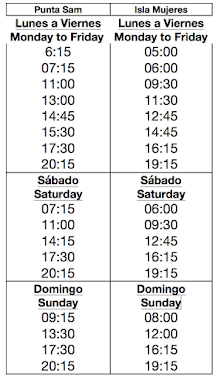 Summer  2015 Vehicle Ferry Schedule (To/From Punta Sam)