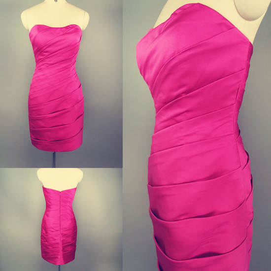 Strapless Fuchsia Short Bridesmaid Dress