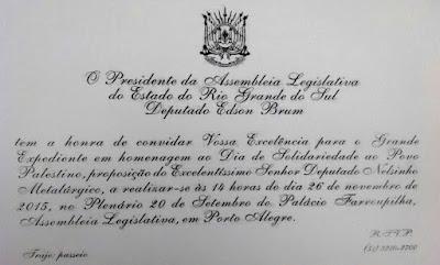 Convite da Assembleia Legislativa do Rio Grande do Sul - Palestina