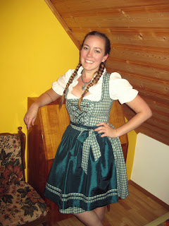 Wearing pigtail braids with my Dirndl