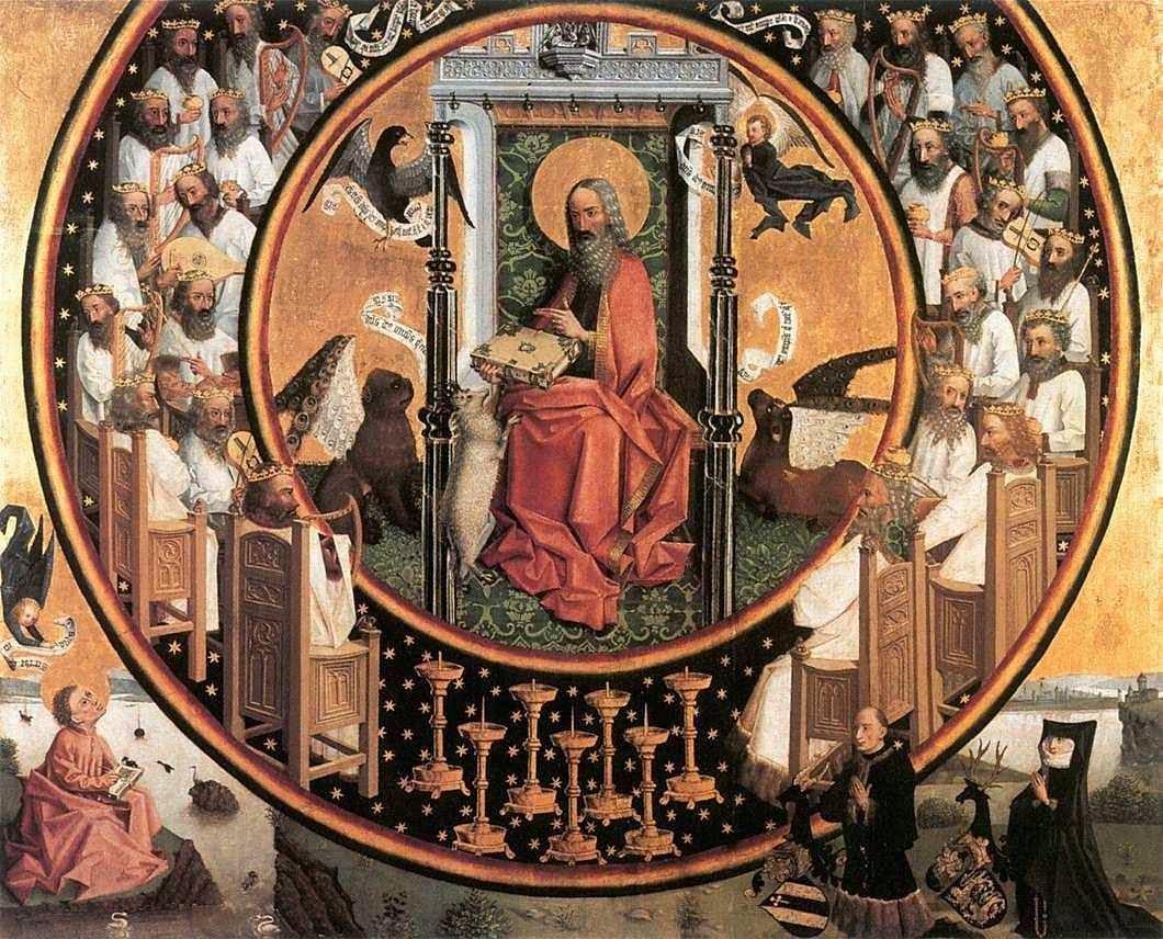 Deus rodeado pelo coro dos 24 anciãos. Wallraf-Richartz Museum, Colônia.