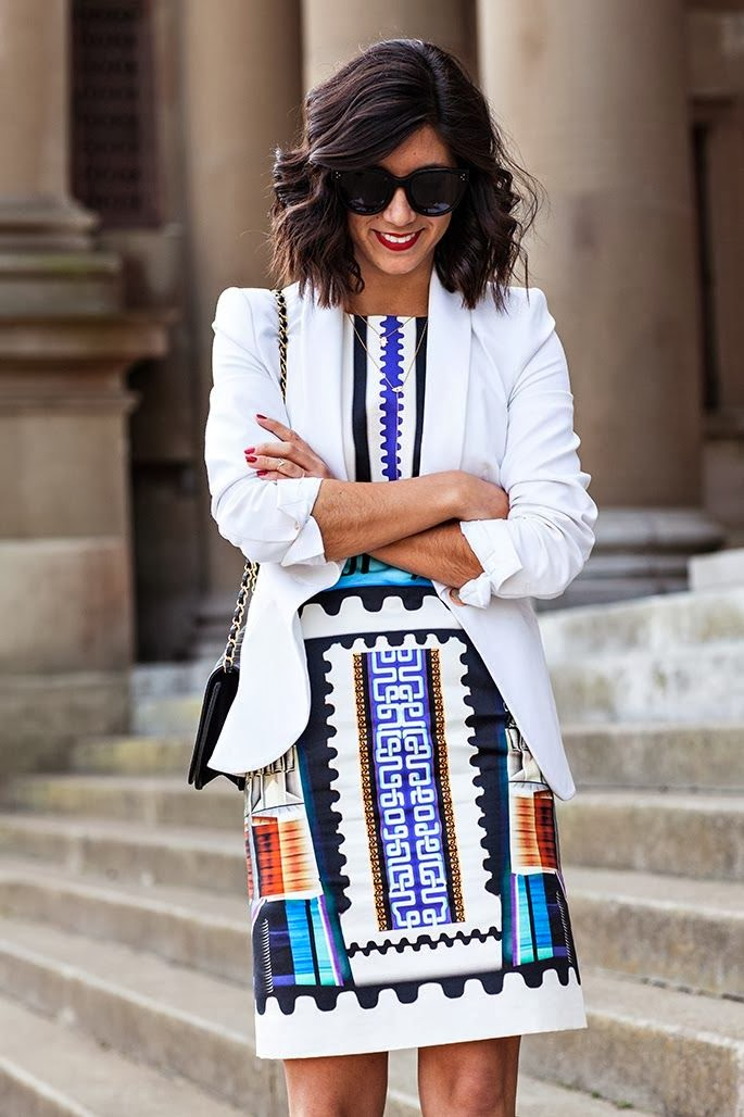 Print dress and white blazer