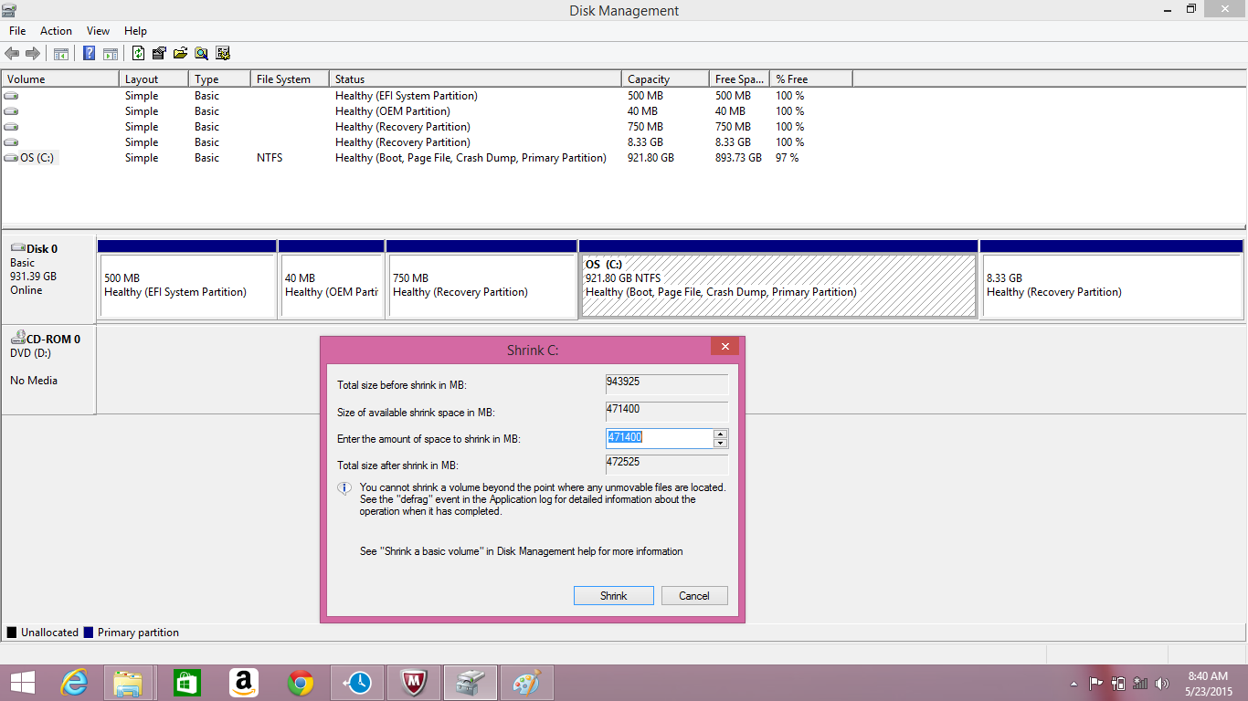 how to create disk partition in windows 8.1 without formatting