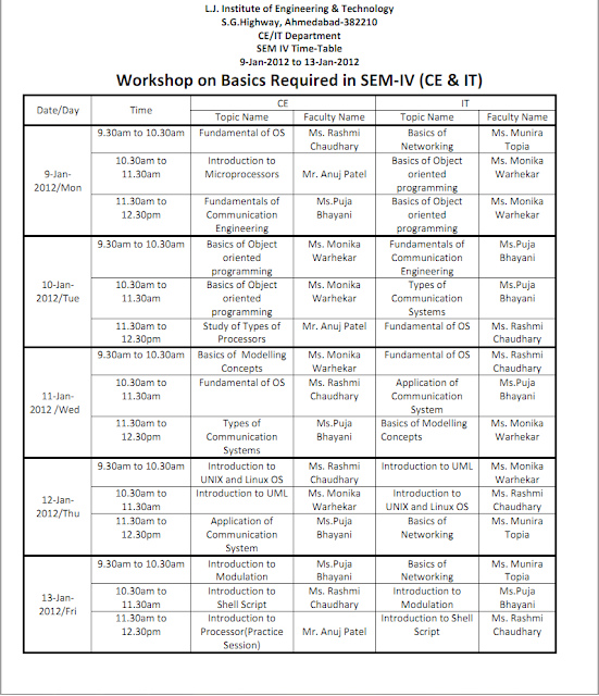 L j institute of engineering technology information for Rtu 4th sem time table