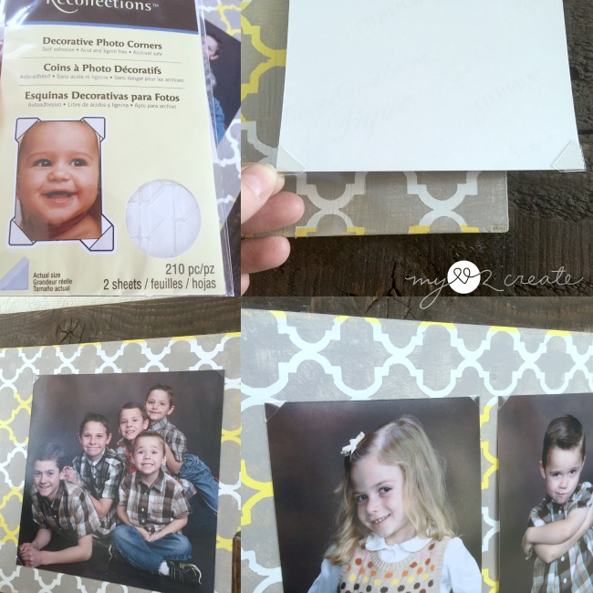 using clear photo corners to attach pictures to wood on DIY Frame