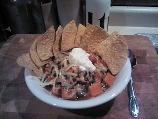 black bean and sweet potato and sweet corn chili