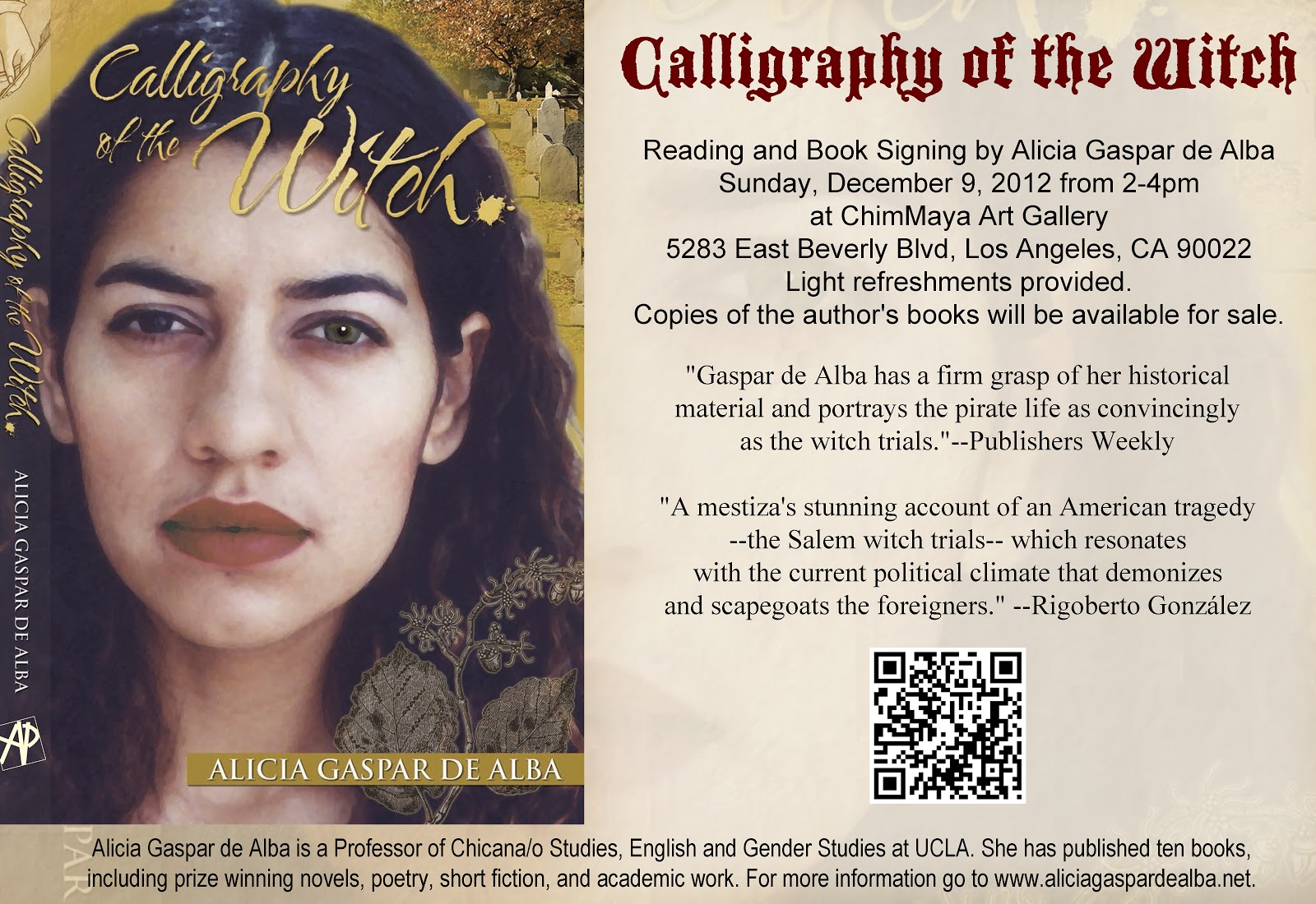 To Celebrate The Paperback Release Of Calligraphy Of The Witch I Will Be  Doing A Reading & Book Signing At Chimmaya Art Gallery (5283 E Beverly  Blvd,