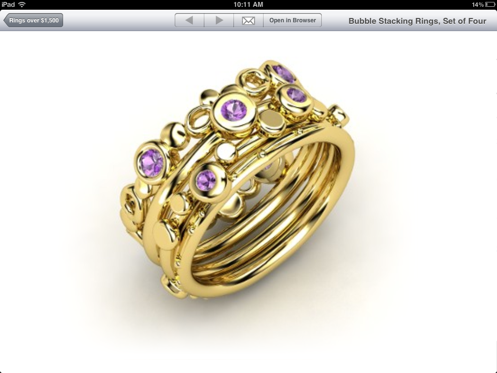 shopping for jewelry on the beautiful stacking rings