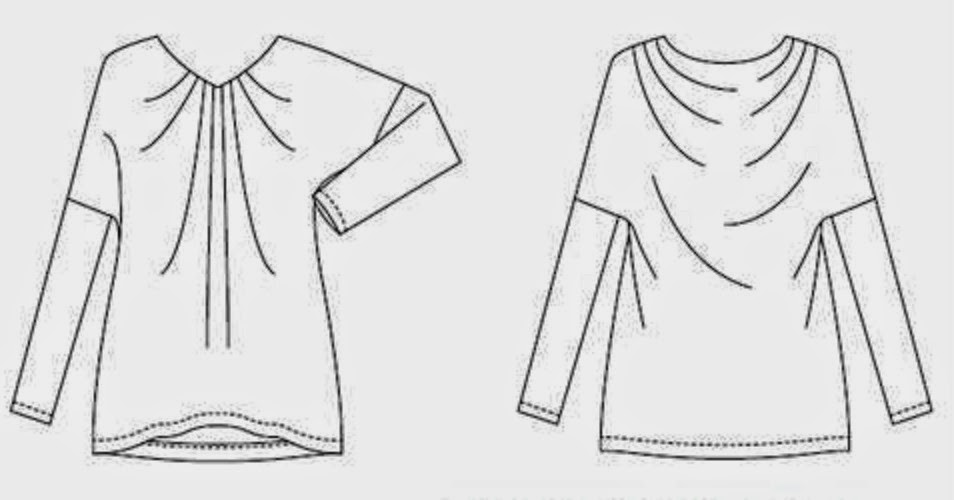 Patrón gratis: blusa con pliegues en escote y espalda drapeada ...