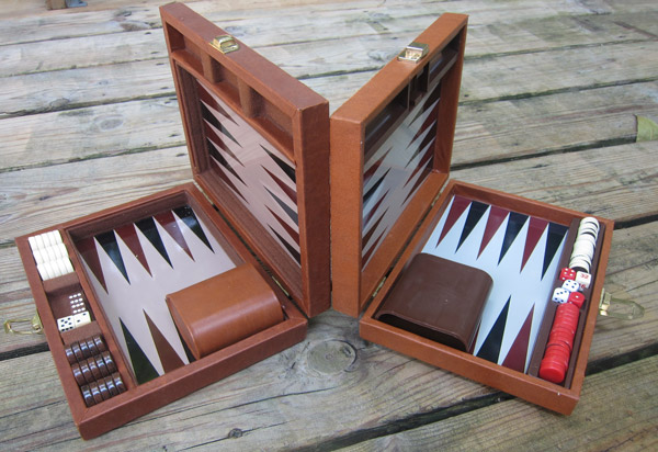 two backgammon travel game boards