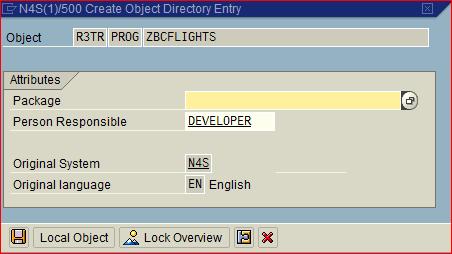 Package al grabar un programa ABAP