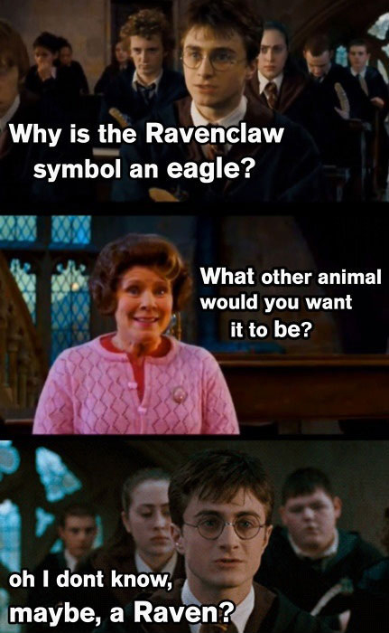 Ravenclaw's Symbol is an eagle