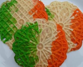 mint irish flag pizzelles for st patrick's day