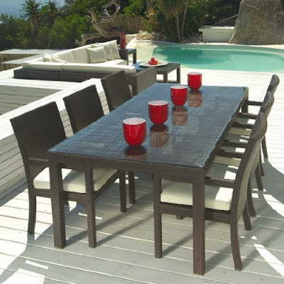 Wish i can live there beautiful wicker dining sets for Patio dining sets with bench seating