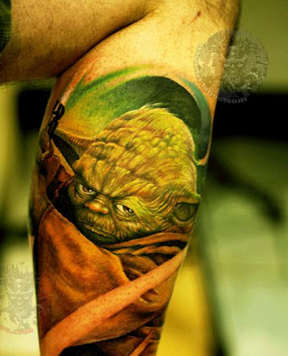 Gollum tattoo design on the leg