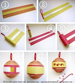 Новогодние шары из простой бумаги