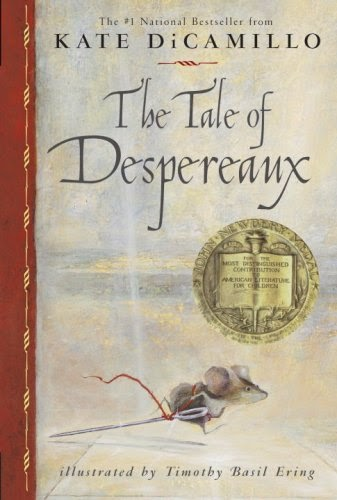 "Cover: The Tale of Despereaux by Kate DiCamillo. Colored-line drawing image of a mouse running, carrying a needle ""sword"" with a piece of red thread tied through the needle's eye."