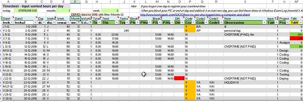 excel examples for your work sports and more timesheet for worked