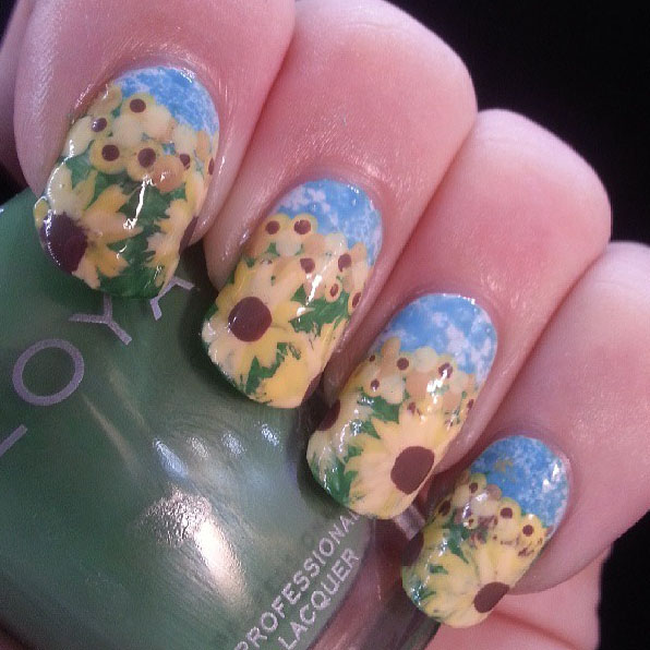 - PiggieLuv: Sunflower Nail Art