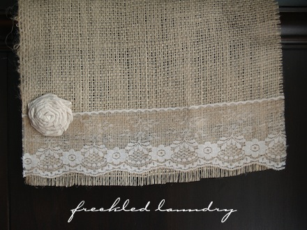 Burlap and lace runner giveaway for Burlap and lace bedroom