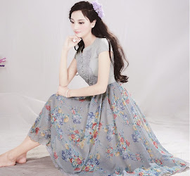 Grayish Blue Short Sleeve Floral Embroidered Decorated Roses Print Dress