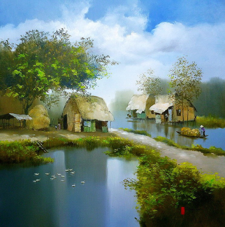 Im genes arte pinturas modernos paisajes del campo - Paisajes de casas de campo ...