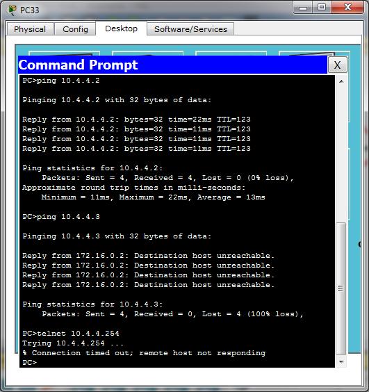 Test ping dan telnet dari PC33