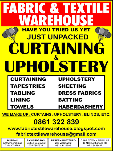 visit us, email us or call us on 0861 322 839 to find out about our great range of upholstery and curtaining fabric just unpacked