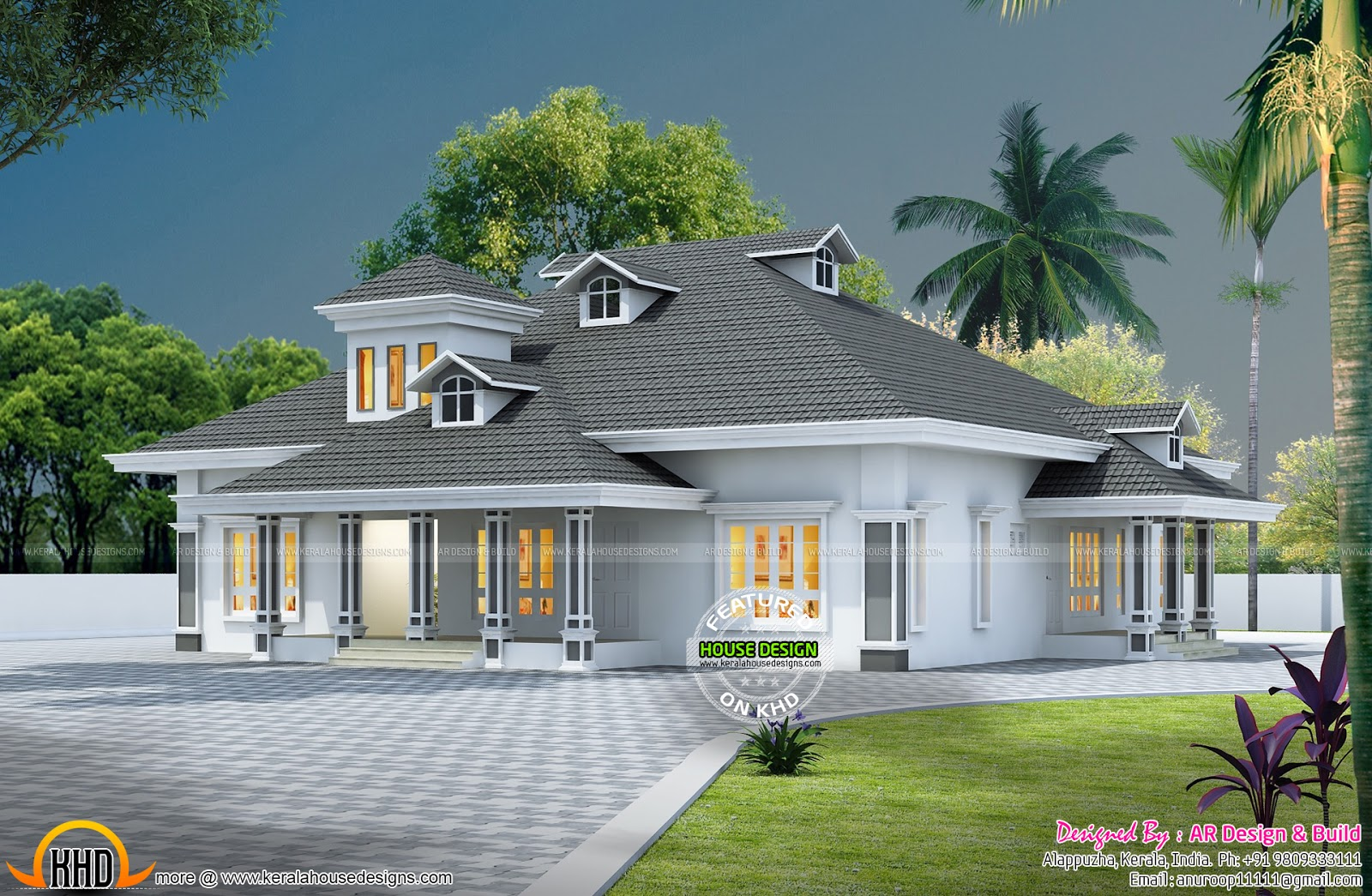 European model sloped roof house keralahousedesigns for House designs 3d model