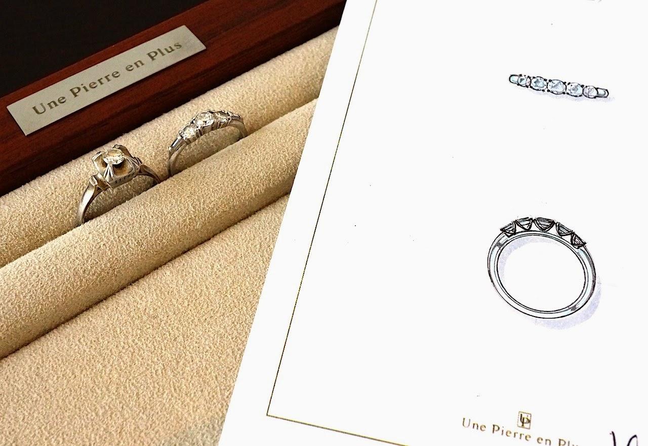 古いダイヤモンドリング2本とリスタイルが決定した岡田訓明が描いたデザイン画の写真