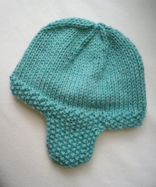 Knitting Pattern Baby Hat With Ear Flaps : LuluKnits: Seed Stitch Ear flap Hat