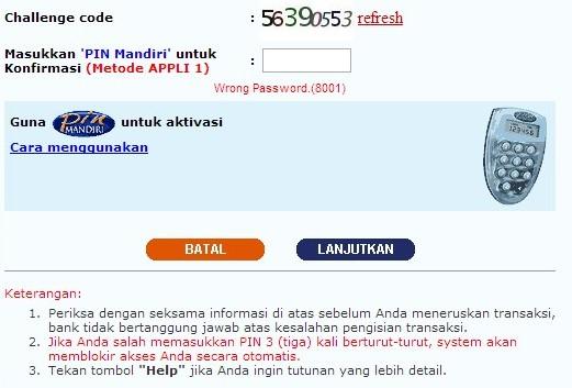 internet banking mandiri sering error