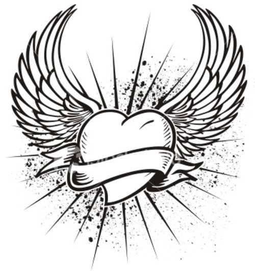 coloring pages flowers heart with wings tattoo stencils - Coloring Pages Hearts Flowers