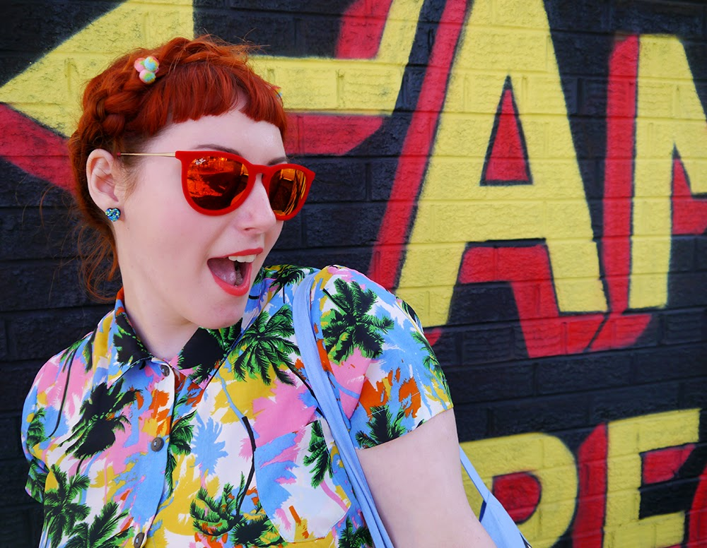 Scottish Blogger, Red Head, Ginger, Styled by Helen, Dundee, Amazing Spectacles, Graffiti, Tropical shirt, Luna on the Moon, Hair Slides, pom pom, Sun Glasses Shop, velvet sunglasses, rayban, Ray-Ban, Cheap Frills heart earrings, bright outfit, summer outfit, summer style