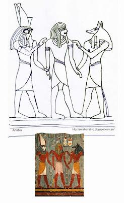dibujo colorear arte egipcio Anubis